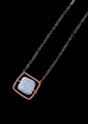 Square Spot Necklace - 14k Rose Gold Fill