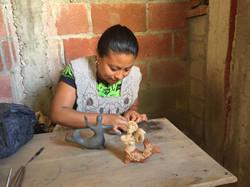 Artisans with sculptures oaxaca
