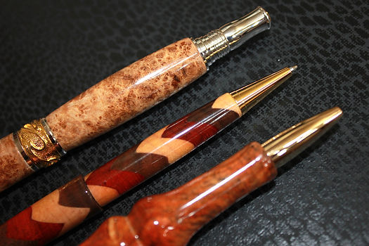 Custom handmade pens - finest quality woods  with gold and silver hardware