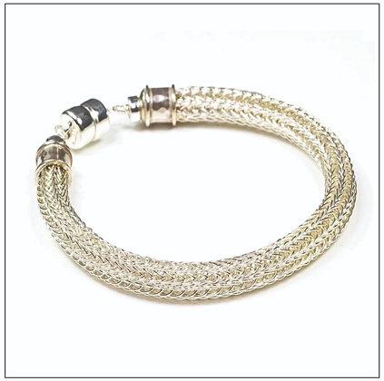 Viking Knit Narrow Bracelet - Sterling Silver