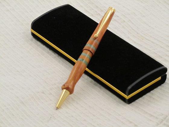 Signature 4, Turquoise Stone and Bubinga Wood, Gold Hardware