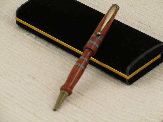 Signature 6, Bubinga, Turquoise, Brass Hardware