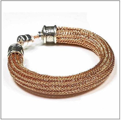 Viking Knit Wide Bracelet - 14K Rose Gold Fill