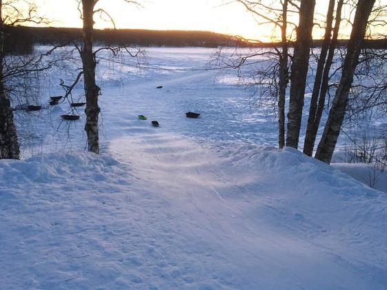 Sledding Down to the Lake