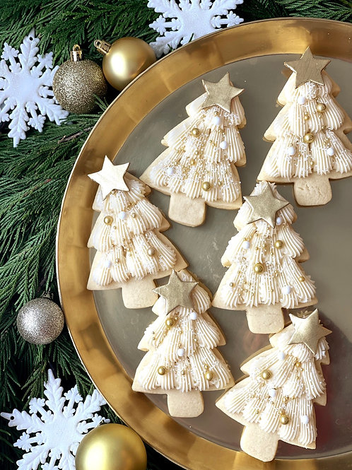 6 Winter White Buttercream Tree Cookies