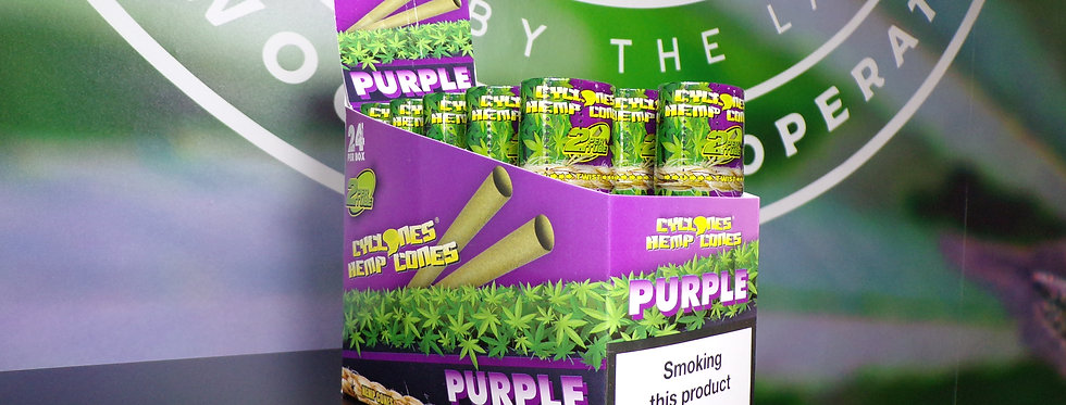 Cyclone hemp wraps. Purple. 2 pack.