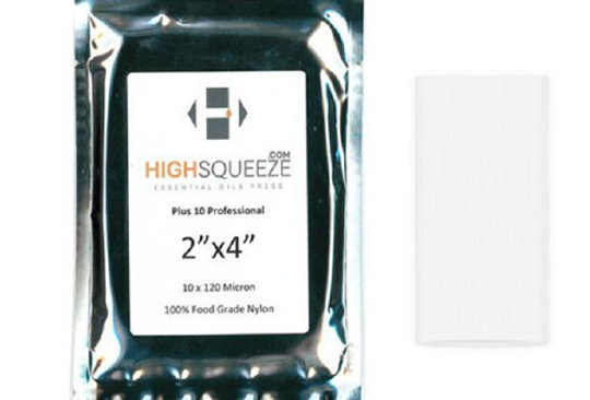 """High Squeeze Essential Oils Press bags. 2""""x 4""""  120 micron."""