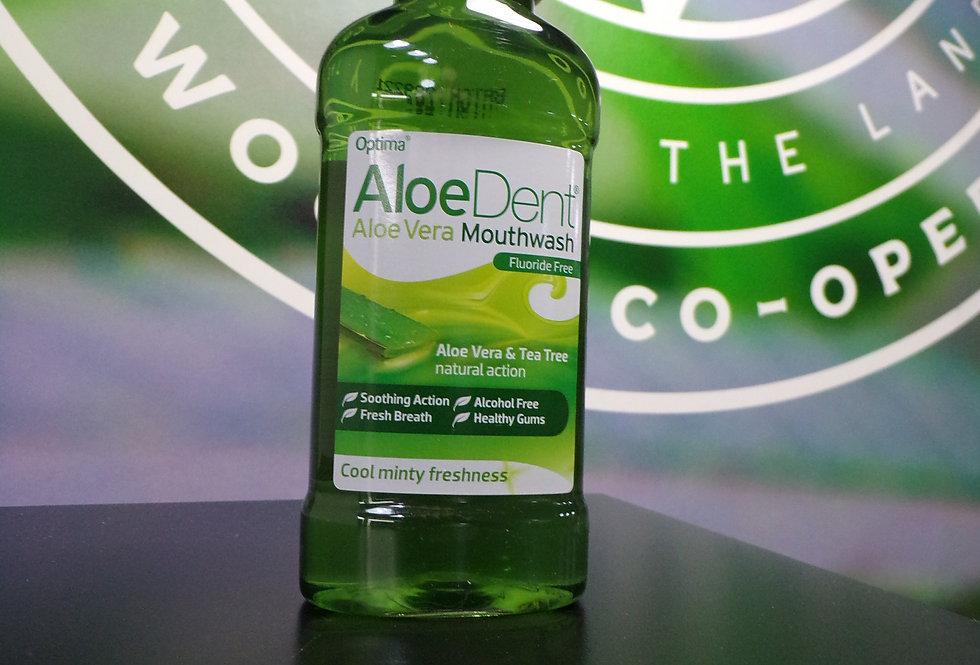 Aloedent alcohol/fluoride free mouthwash.
