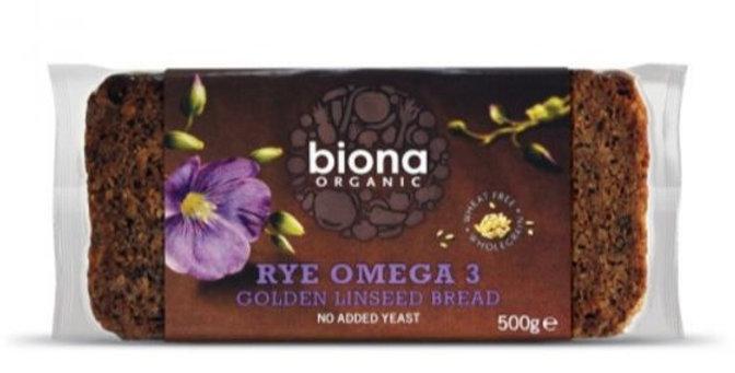 Biona Rye Omega 3 Golden Linseed Bread 500g