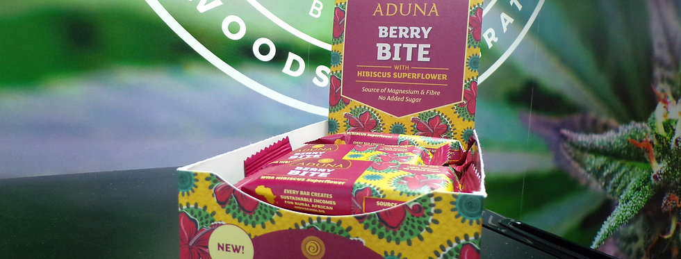 Aduna Berry Bite Energy Bar With Raspberries and Hibiscus