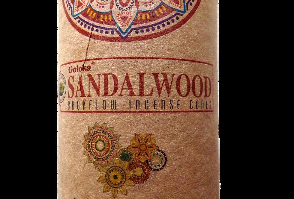 Goloka. Sandalwood backflow incense cones.