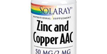 Solaray zinc and copper aac. 60 veg caps.