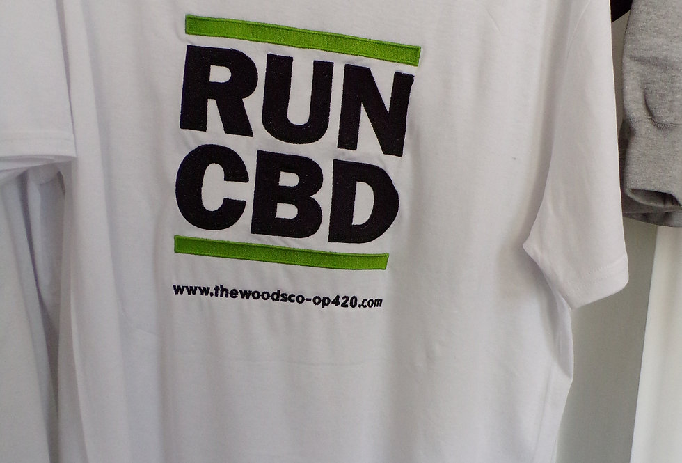 The woods co-op RUN CBD organic t-shirts. vegan friendly. Large