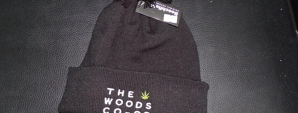 The woods co-op bobble hat. black.