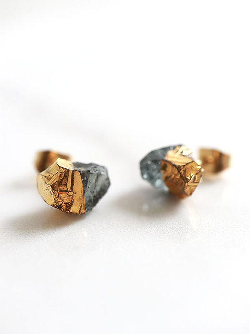 STAR STONE stud earrings - Smoke + 24K gold