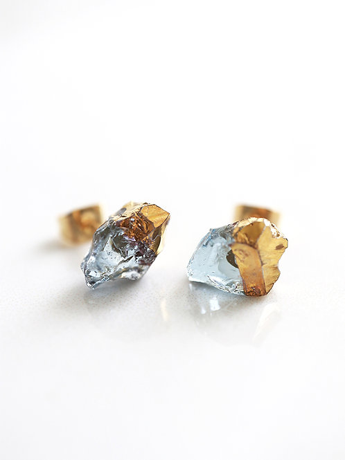 STAR STONE stud earrings - Sapphire + 24K gold
