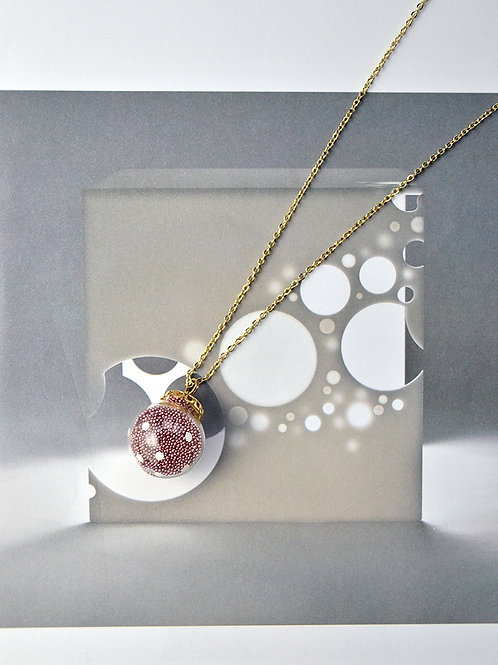 AMATO necklace - Matallic pink polka dots glass bubble necklace