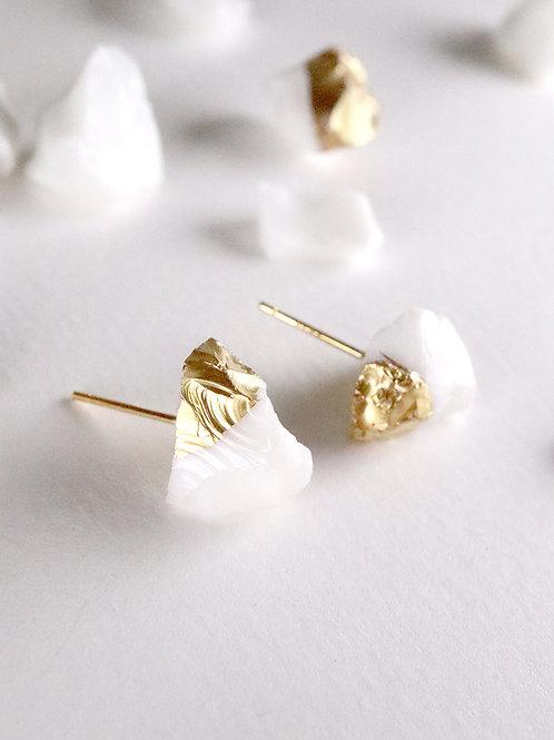 STAR STONE stud earrings - White + 24K gold