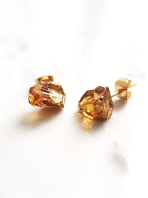 STAR STONE stud earrings - Amber + 24K gold