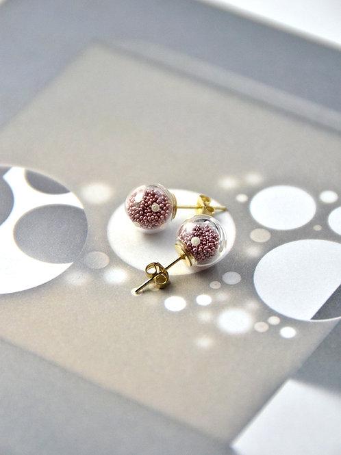 AMATO ear studs - Matallic pink polka dots glass bubble ear studs