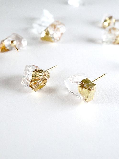 STAR STONE stud earrings - Clean + 24K gold