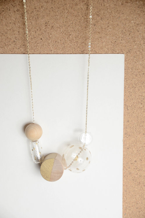 CARINA gold- Glass Bubbles +Handpainted wooden beads Necklace