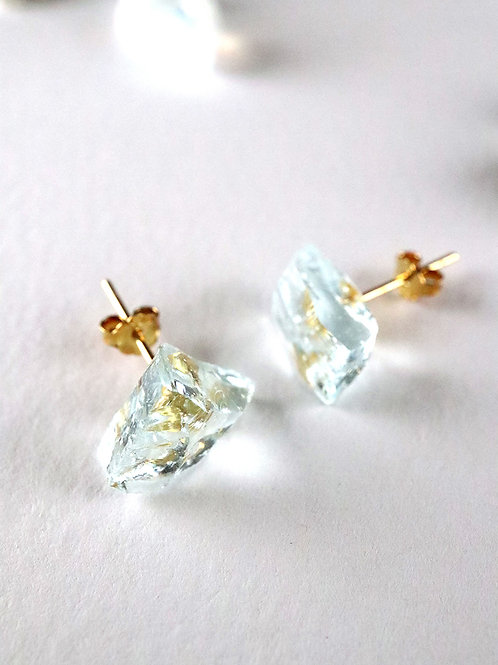 STAR STONE stud earrings - Aqua Blue
