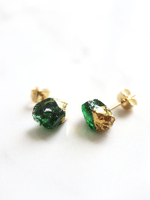 STAR STONE stud earrings - Emerald + 24K gold