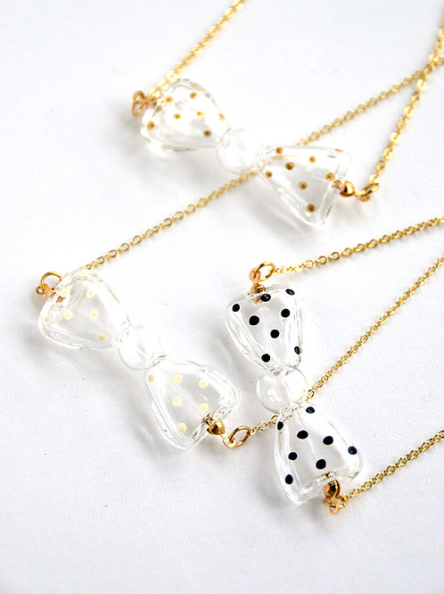 FARFALLA necklace - Glass polka dots bow-tie necklace