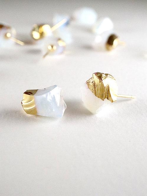 STAR STONE stud earrings - Opal + 24K gold
