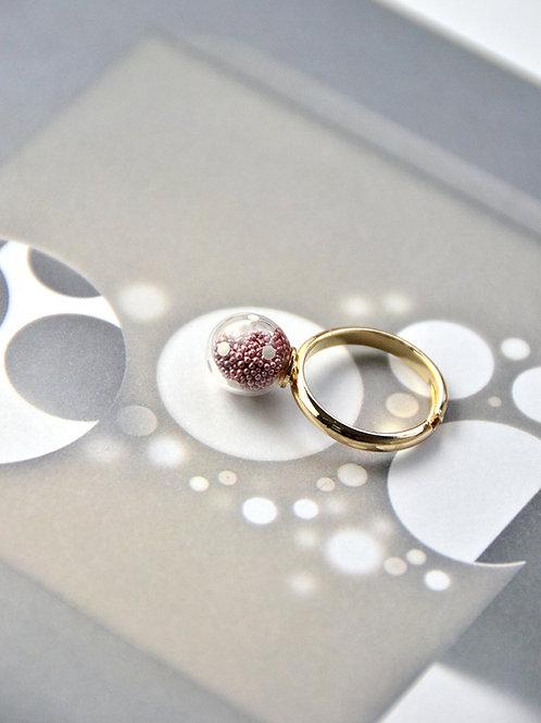 AMATO ring - Matallic pink polka dots glass bubble ring