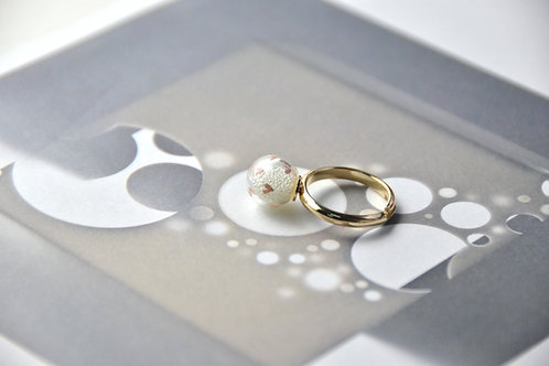 TESORO ring - Tiny pink hearts glass bubble ring