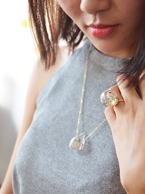 D'ORO droplet - Hand-paint droplet bubble necklace