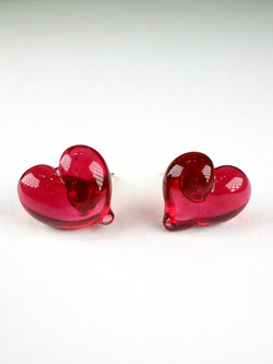 CUORE stud earrings - Ruby red
