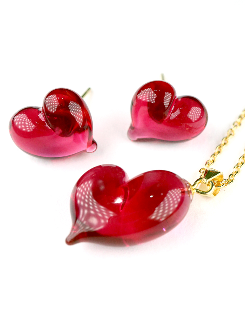 CUORE necklace & earrings - Ruby red
