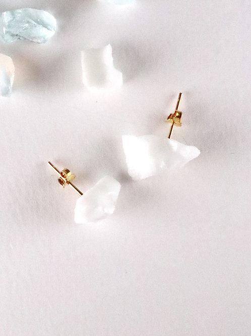 STAR STONE stud earrings - Jade White
