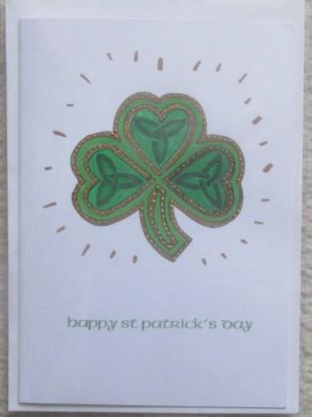 St Patrick's Day card - Celtic Shamrock with trinity knots gold outlines