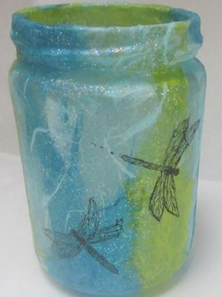 Glass Jar hand painted dragonflies on decoupaged background