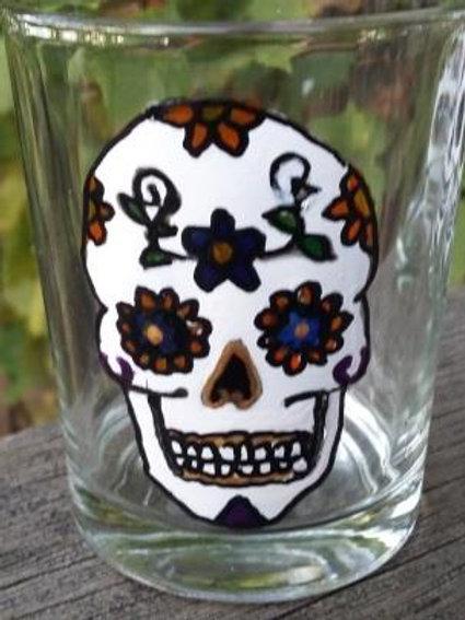 Sugar Skull Shot Glass or tea light - flowers