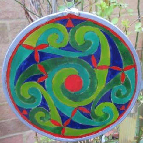 """Spirals - Medium - Greens with red """"leaves"""""""