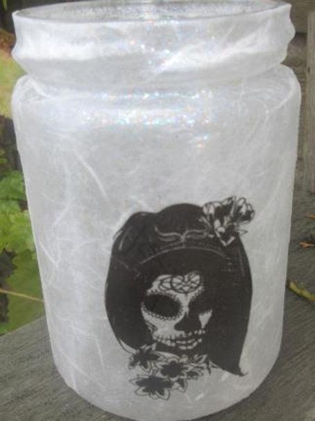 Glass Jar with Woman Sugar Skull