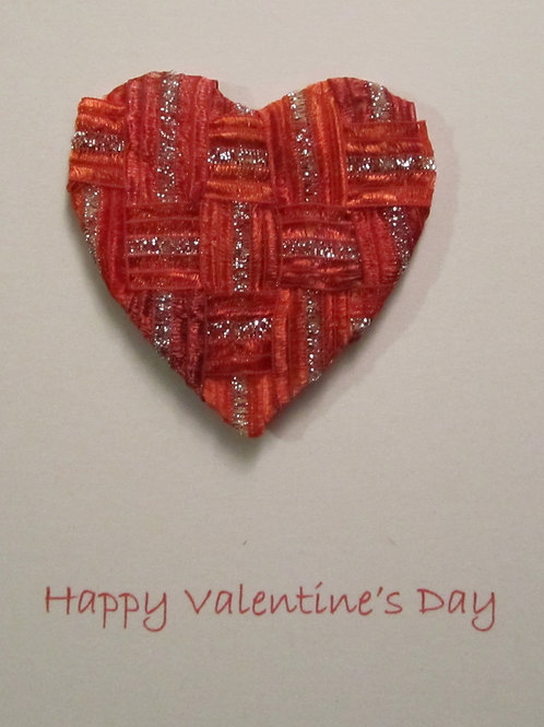 Valentine's Day Card with woven ribbon heart