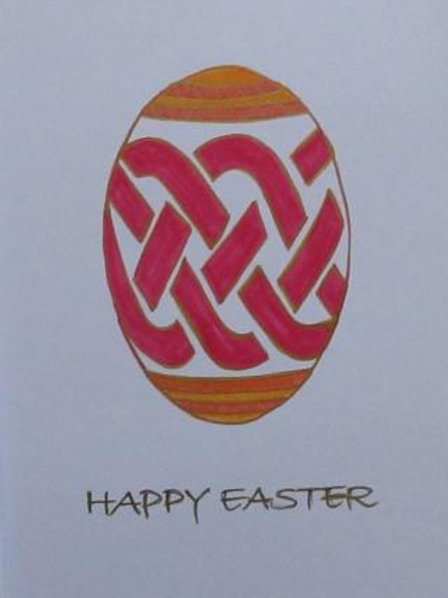 Easter Card - Celtic Egg with knotwork design in reds