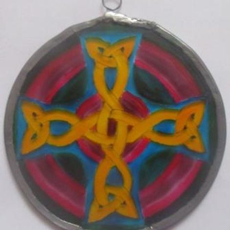 Suncatcher - Celtic Knot Cross in pinks, mauves and blues