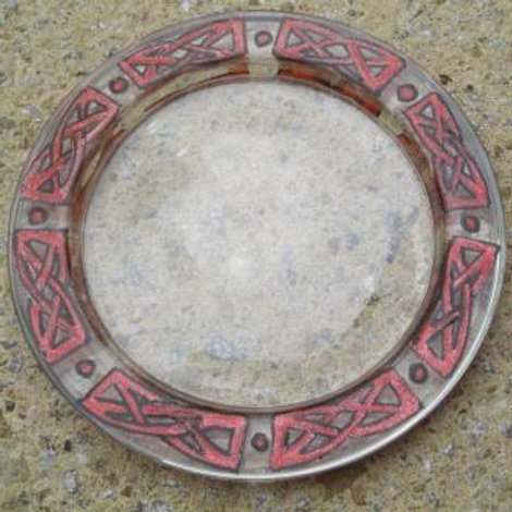 Glass coaster - hand painted Celtic Knots in red and black