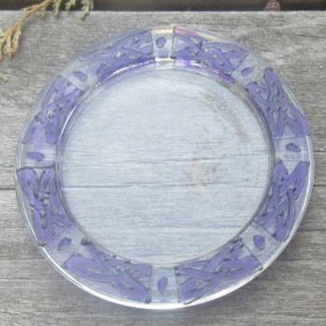 Glass coaster - hand painted Celtic Knots in purple & black