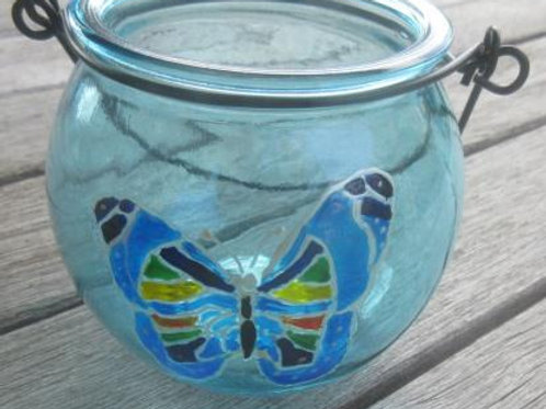 SOLD - Cauldron shaped blue tea light holder with hand painted butterfly