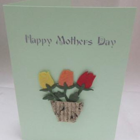 Mother's Day Card - Pot of three paper tulips