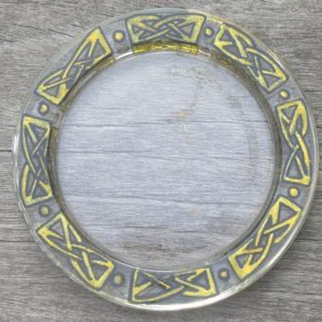 Glass coaster - hand painted Celtic Knots in gold and black