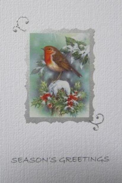 Christmas Card - Robin on snowy post